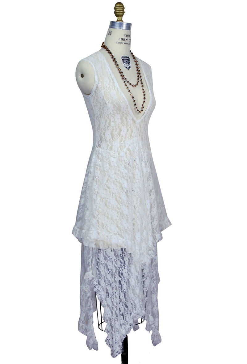 Ultra Chic 30's Victoriana Lace Low Cut Handkerchief Dress - Ivory - The Deco Haus