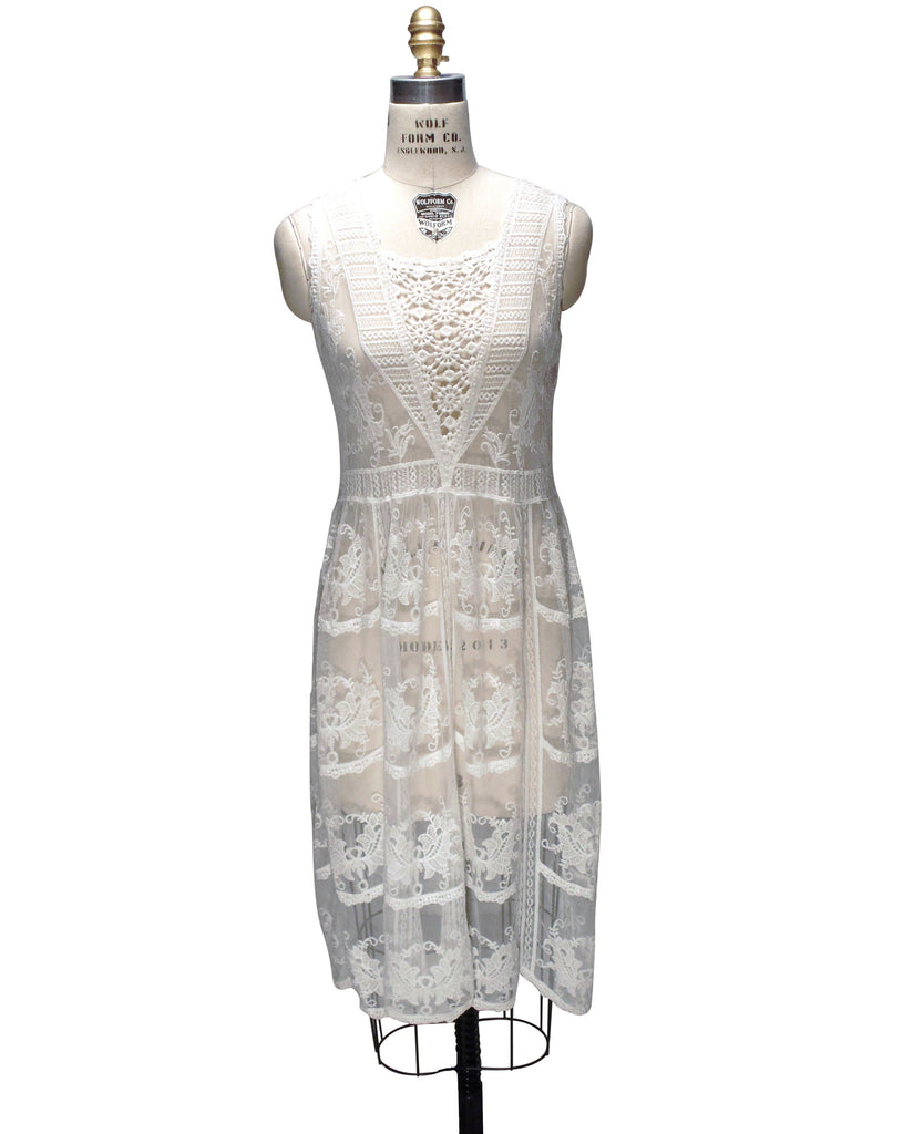 1920's Deco Vintage Lace Overlay Florence Dress Cream White