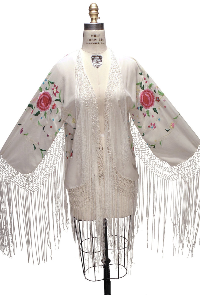 The 1920's Silk Embroidered Piano Shawl Jacket - White - The Deco Haus