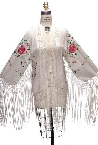 The 1920's Silk Embroidered Piano Shawl Jacket - White