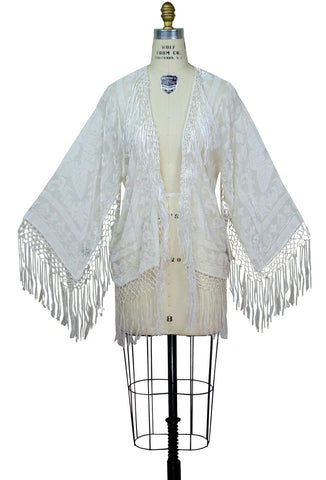 The 1930's Art Deco Scarf Jacket - Ivory White Silk