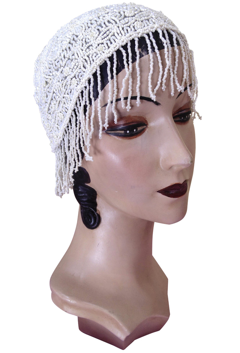 1920s Hand Beaded Gatsby Flapper Wedding Bridal Cap - Short Fringe - White Pearl - The Deco Haus