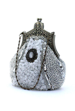 1920's Inspired Gatsby Beaded Teardrop Evening Purse - White Silver - The Deco Haus