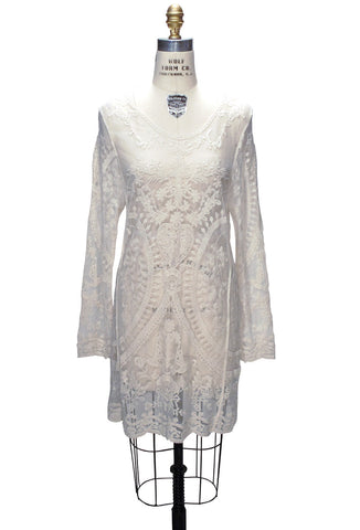 Cream 1920's Inspired Vintage Lace Tunic Dress
