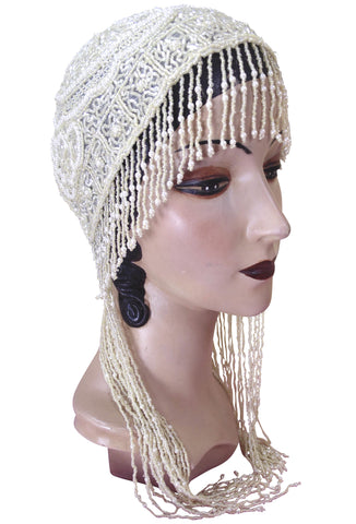 1920s Hand Beaded Gatsby Flapper Wedding Bridal Cap - Long Fringe - Ivory Pearl - The Deco Haus