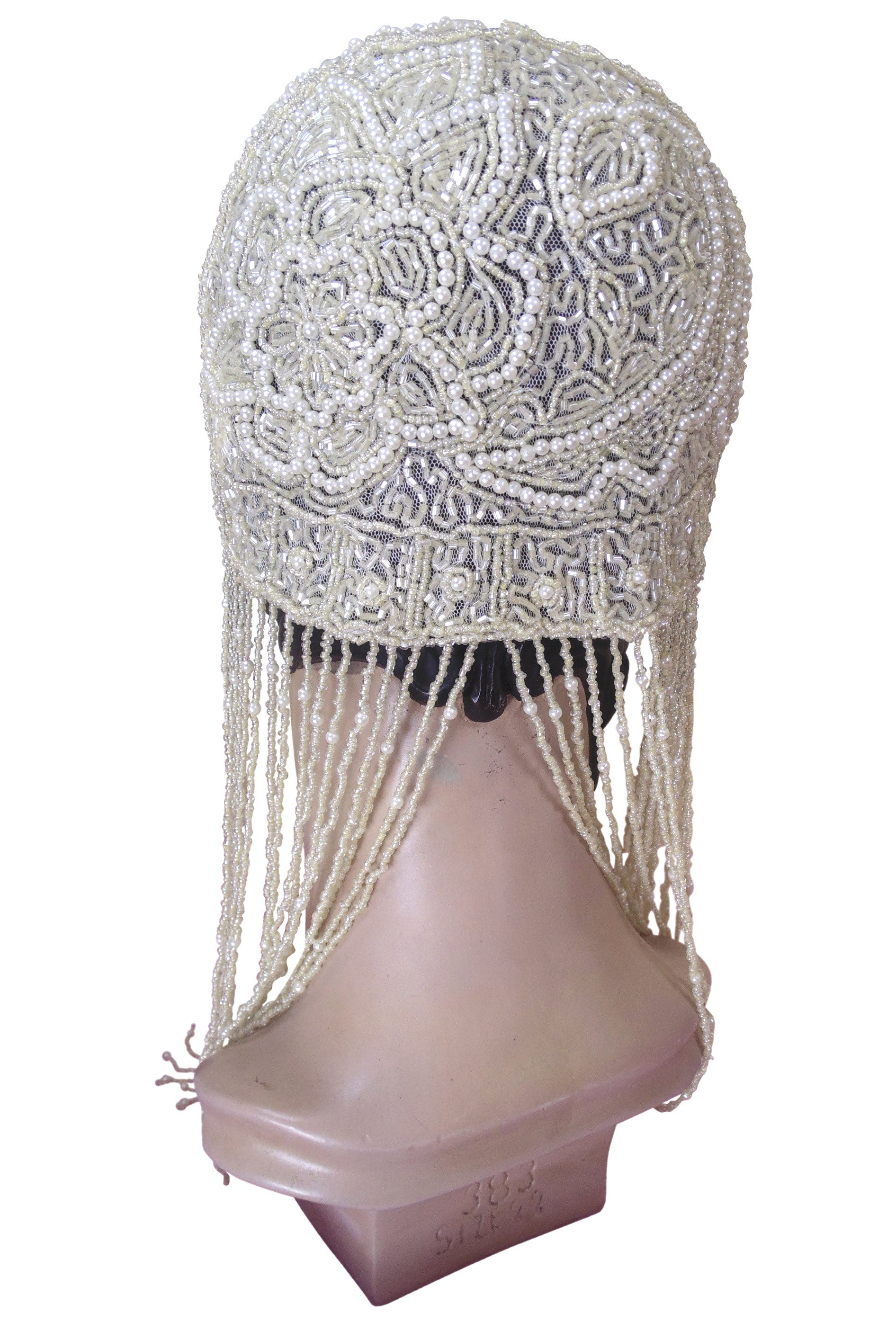 ... 1920s Hand Beaded Gatsby Flapper Wedding Bridal Cap   Long Fringe    Ivory Pearl   The