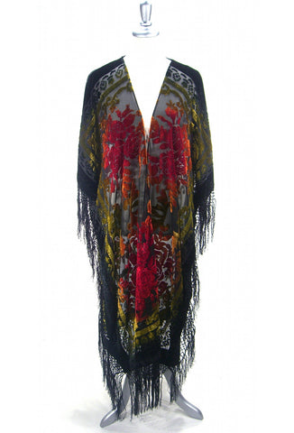 The Victorian Rose Burnout Silk Velvet Fringe 20s Evening Wrap - Ombre - The Deco Haus