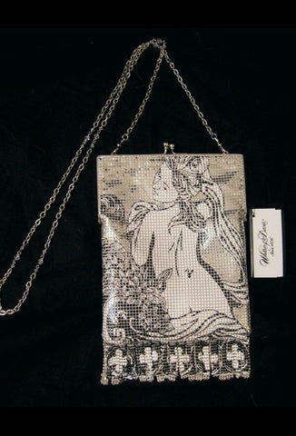 Whiting & Davis Metal Mesh Printed Frame Bella Purse