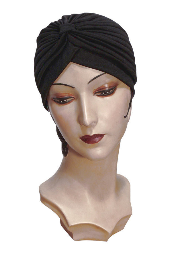 The Swanson 1920's Deco Evening Turban - Black - The Deco Haus