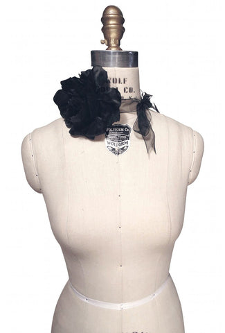Black Tango Rose Flapper Necklace Ribbon Tie