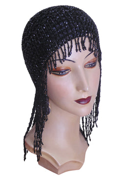 The Jazz Baby Flapper Fringe 20's Party Cap - Black - The Deco Haus