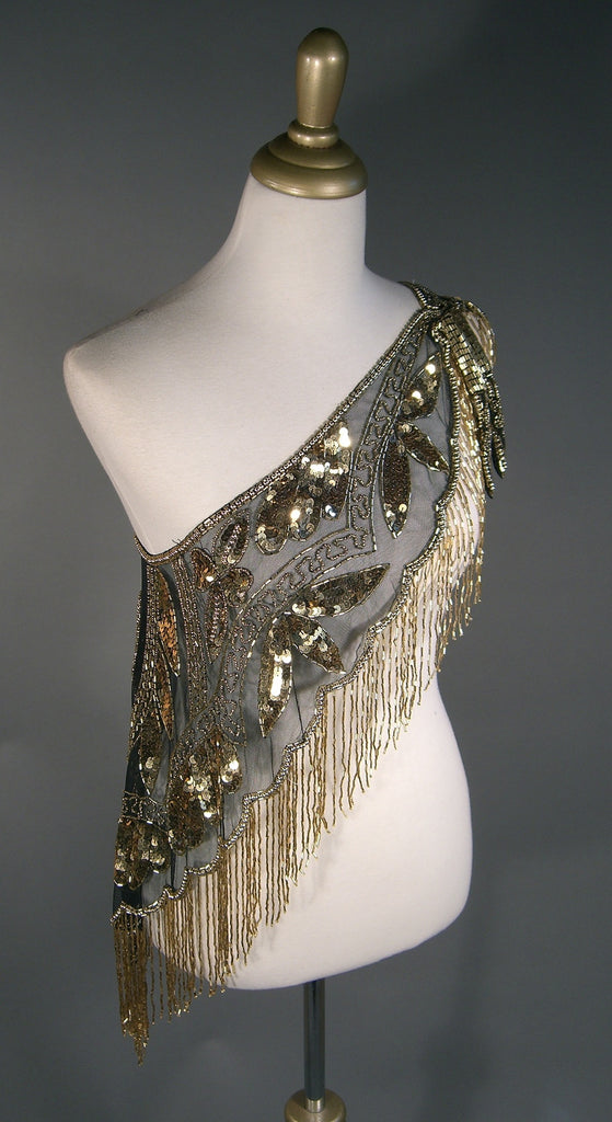 The Zelda 1920's Flapper Capelet - Gold on Jet - The Deco Haus