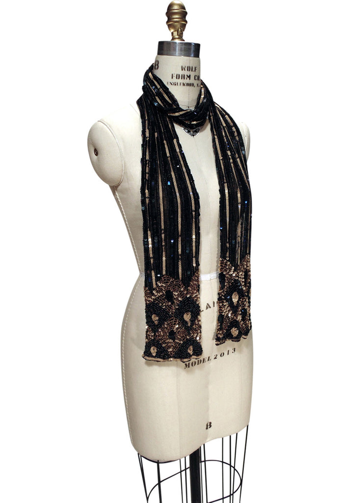 1920s Style Wraps The Valentino 1920s Sequin Beaded Deco Shawl Wrap $124.95 AT vintagedancer.com