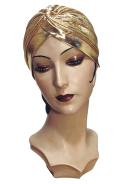 The Swanson 1920's Deco Evening Turban - Gold Lamé - The Deco Haus
