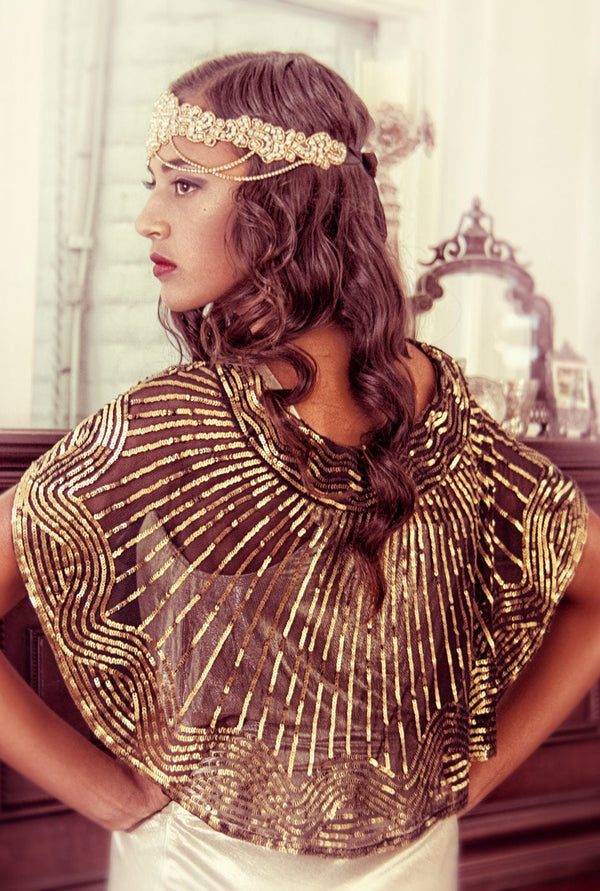 1920s Beaded Silk Bow Flapper Capelet - The Garbo - Gold on Jet