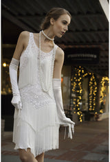 1920s Downton Abbey Dresses 1920S FLAPPER FRINGE GATSBY PARTY DRESS - THE ROXY - CRYSTALLINE WHITE $479.95 AT vintagedancer.com