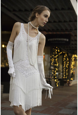 1920's Flapper Fringe Gatsby Party Dress - The Roxy - Crystalline White - The Deco Haus