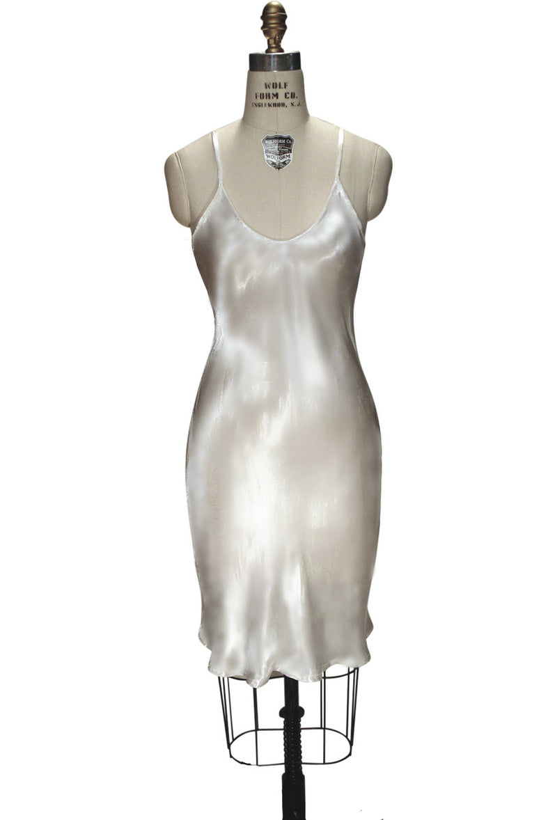 1930's Style Satin Bias Gatsby Glamour Wedding Bridal Slip Dress - Ivory - The Deco Haus