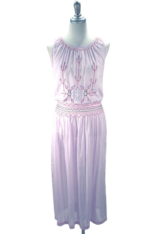 Lavender 1920's Voile Embroidered Peasant Dress