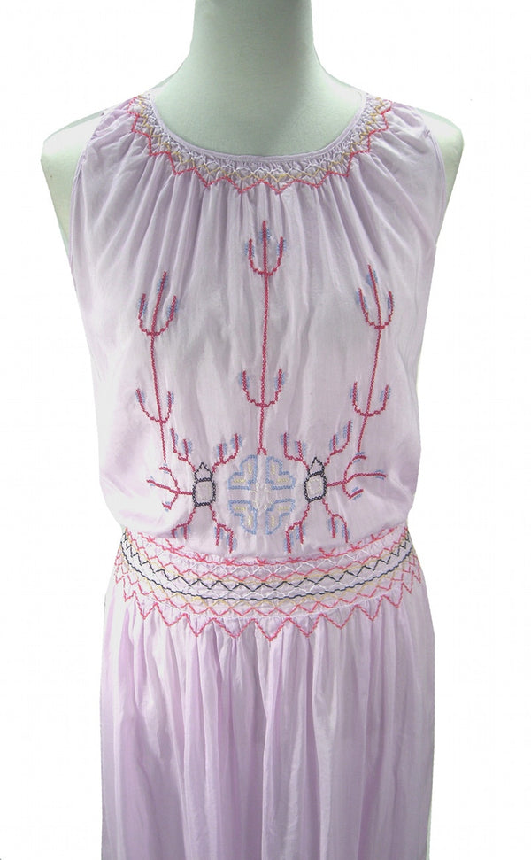 1930s Vintage Embroidered Peasant Dress - The Dagmar - Lavender - The Deco Haus