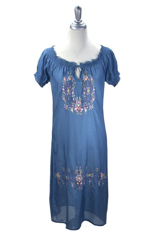 1930's Silk Embroidered Vintage Peasant Dress - The Margaux - French Blue - The Deco Haus