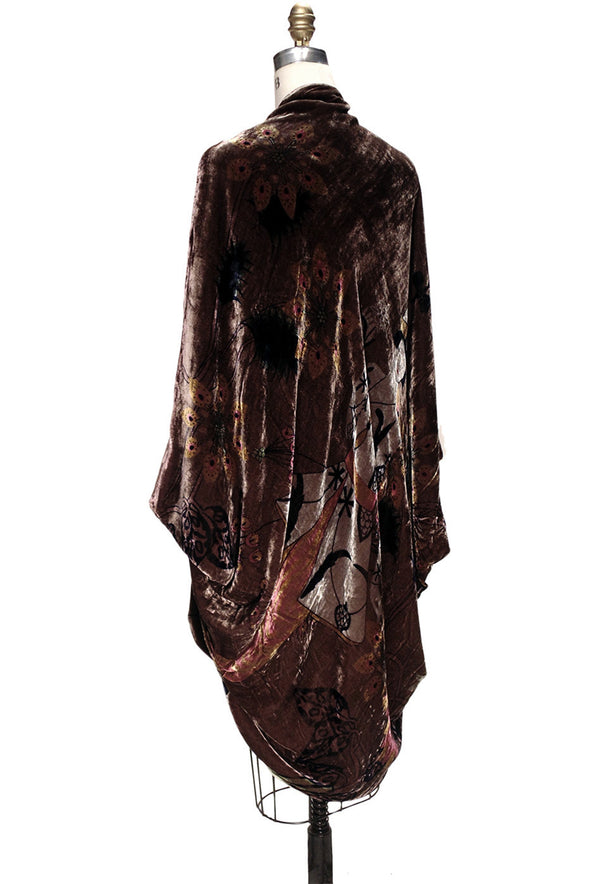 The Velvet Cocoon Poiret 1920's Batwing Vintage Opera Coat - Mahogany Brown - The Deco Haus