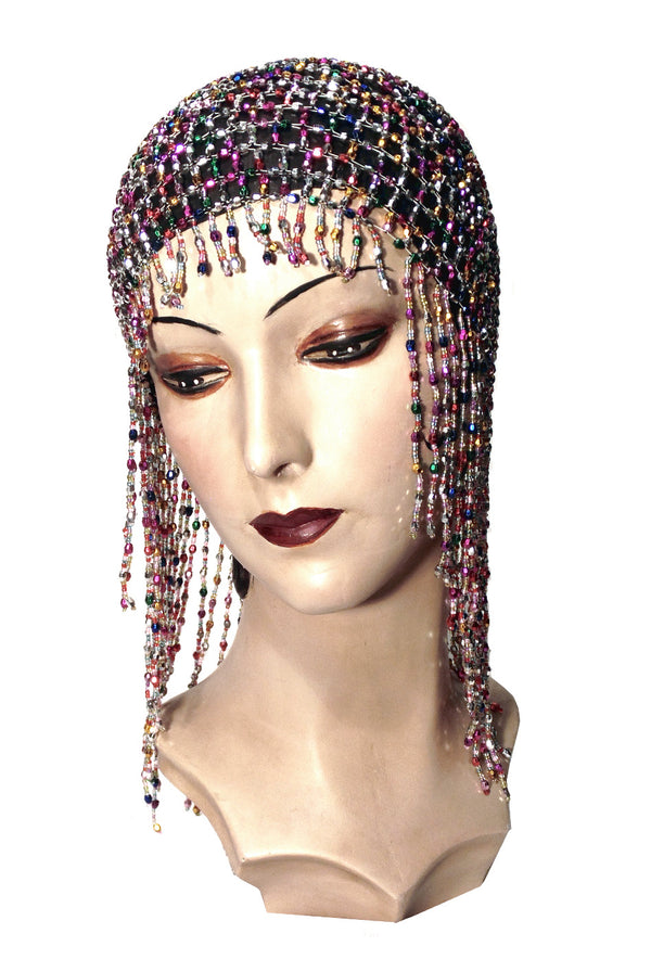 The Jazz Baby Flapper Fringe 1920's Party Cap - Rainbow - The Deco Haus