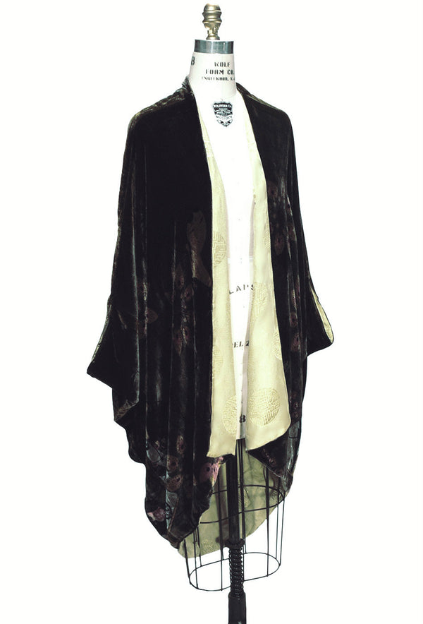 The Velvet Cocoon Poiret Beaded 1920's Batwing Vintage Opera Coat - Olive Green - The Deco Haus