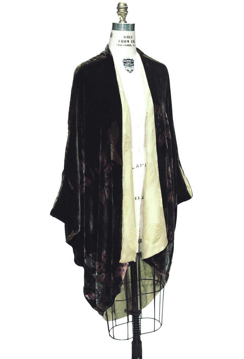 The Velvet Cocoon 1920's Batwing Vintage Opera Coat - Olive Green - The Deco Haus