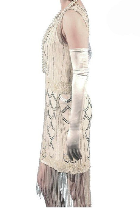 Vintage Style Satin Long Opera Evening Glove - Ivory - The Deco Haus