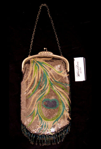Whiting & Davis Metal Mesh Printed Frame Peacock Purse
