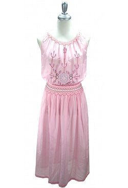 1930s Vintage Embroidered Peasant Dress - The Dagmar - Pink - The Deco Haus