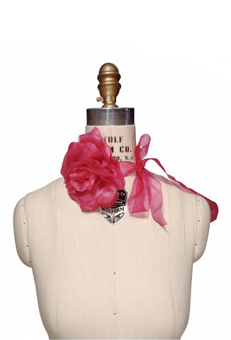 Pink Tango Rose Flapper Necklace Ribbon Tie Fuschia
