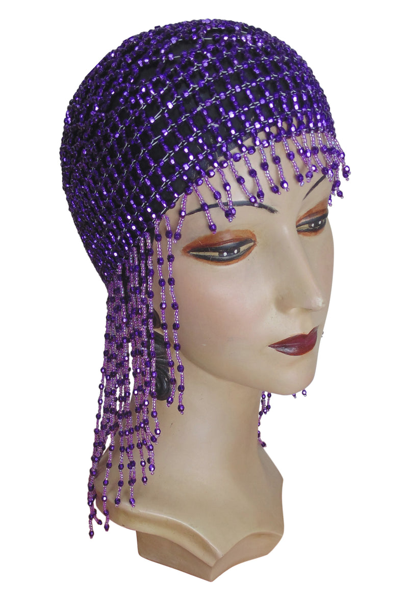 The Jazz Baby Flapper Fringe 20's Party Cap - Royal Purple - The Deco Haus