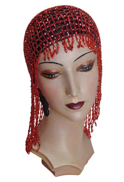 The Jazz Baby Flapper Fringe 1920's Party Cap - Ruby Red - The Deco Haus