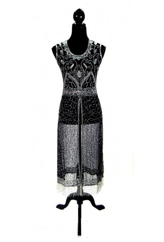 1920's Vintage Panel Fringe Party Dress - The Titanic - Silver on Black - The Deco Haus