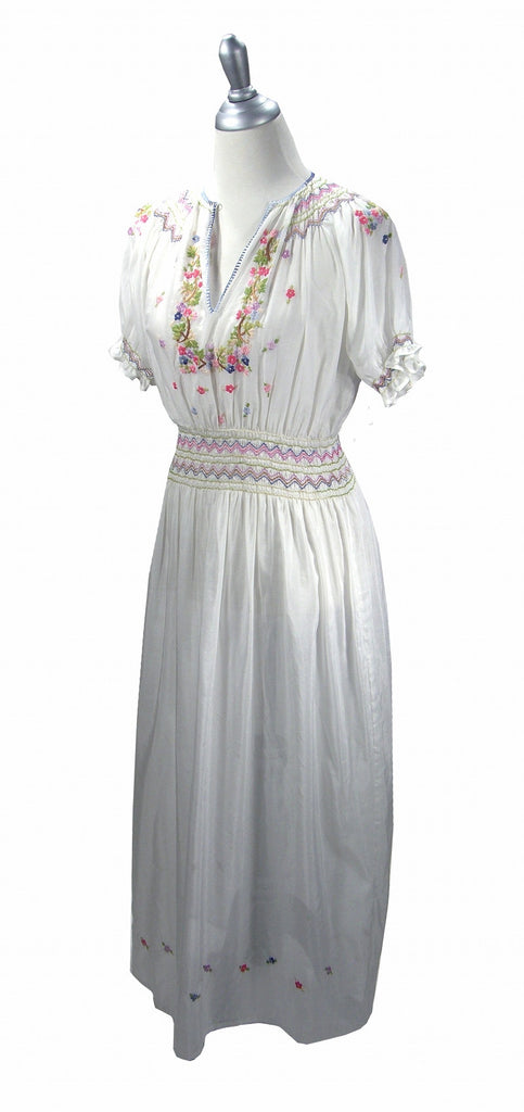 1920s Day Dresses, Tea Dresses, Garden Party Dresses 1930s Embroidered Vintage Peasant Dress - The Brigitte - White $224.95 AT vintagedancer.com