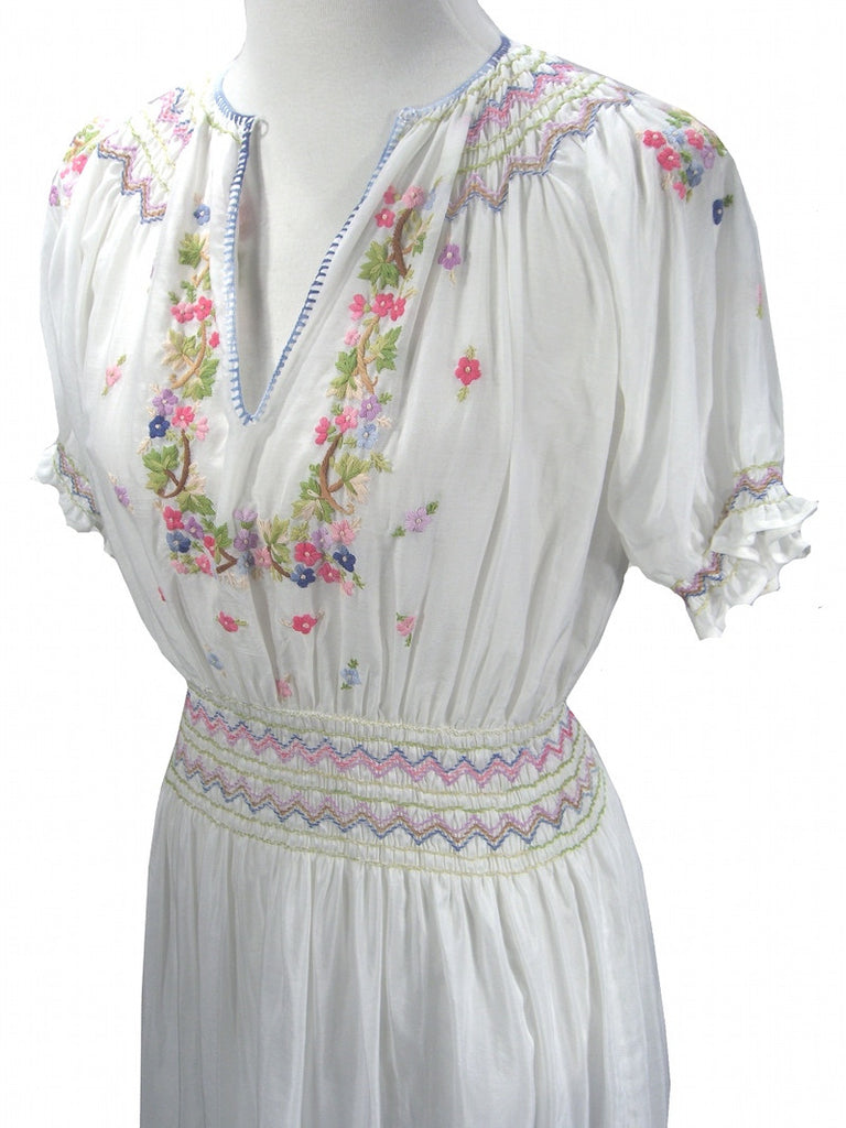 White 1920's Silk Embroidered Peasant Day Dress