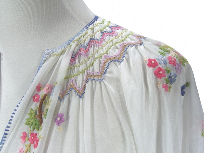 1930s Embroidered Vintage Peasant Dress - The Brigitte - White - The Deco Haus