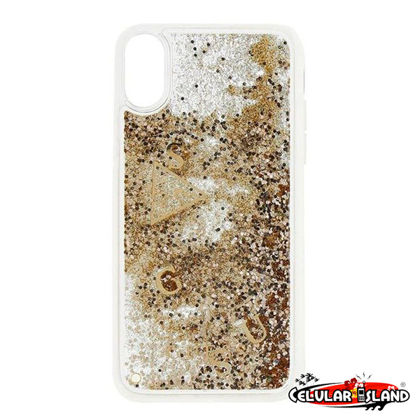 GUESS LIQUID GLITTER CASE PARA IPHONE XS MAX (GOLD)