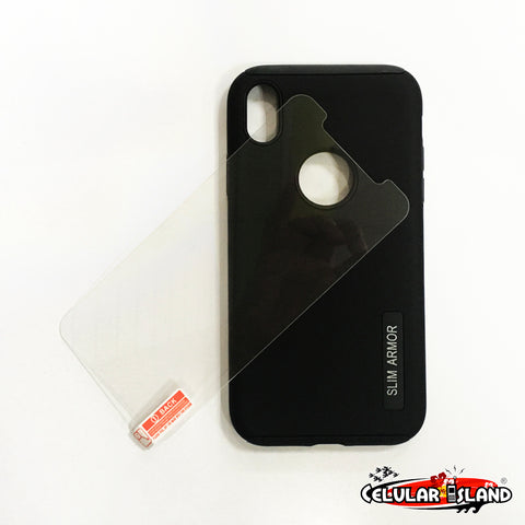 CASE DUAL LAYER CON GLASS PARA IPHONE XR