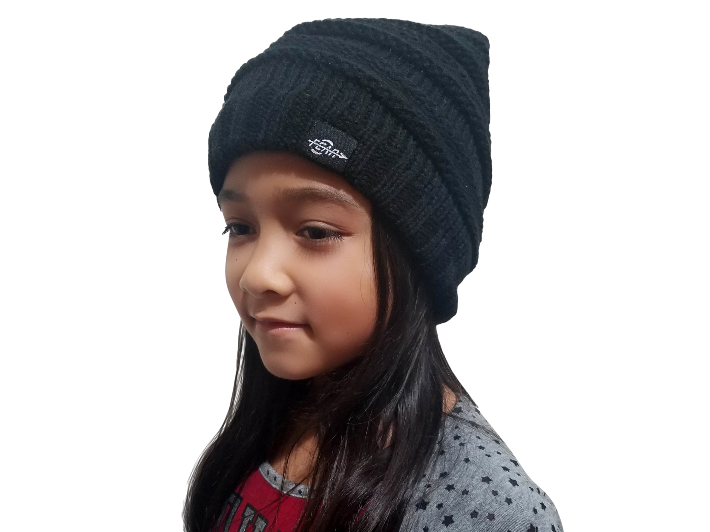 FEAR0 PLUSH INSULATED EXTREME COLD GEAR BLACK KNIT POM BEANIE HAT FOR KIDS - Fear0