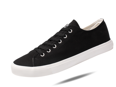 Fear0 Unisex True to Size Black White Casual Canvas Sneakers Shoes - Fear0