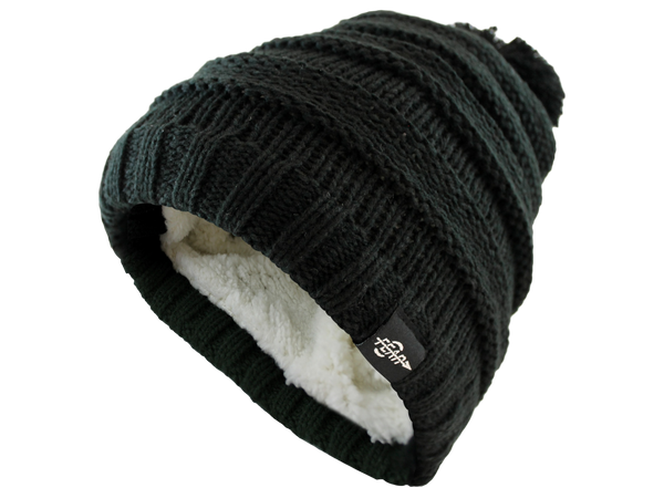 FEAR0 PLUSH INSULATED EXTREME COLD GEAR BLACK KNIT POM BEANIE HAT FOR KIDS