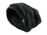 FEAR0 FLEECE INSULATED EXTREME BLACK KNIT SLOUCH BAGGY BEANIE HAT FOR WOMEN - Fear0