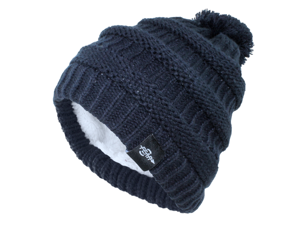 834e9b33835 ... FEAR0 PLUSH INSULATED EXTREME COLD GEAR BLACK KNIT POM BEANIE HAT  WOMENS GIRLS