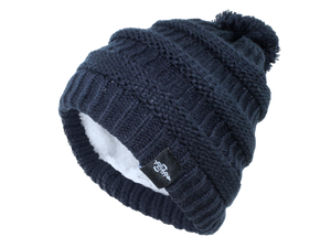 FEAR0 PLUSH INSULATED EXTREME COLD GEAR BLACK KNIT POM BEANIE HAT WOMENS GIRLS - Fear0