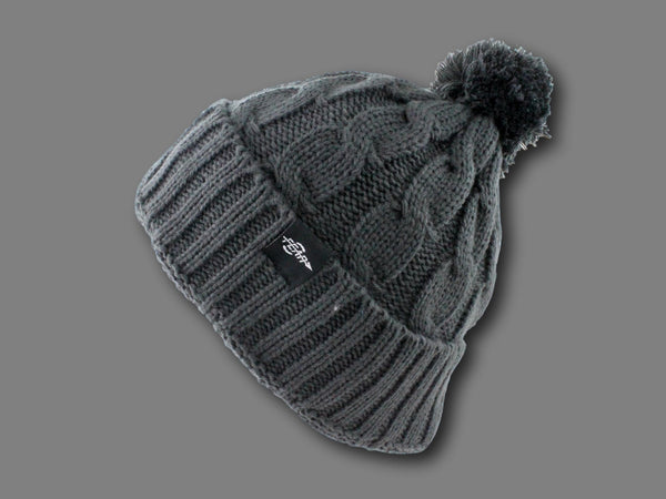 FEAR0 PLUSH INSULATED EXTREME COLD GEAR WOMENS BLACK CUFF KNIT POM BEANIE HAT