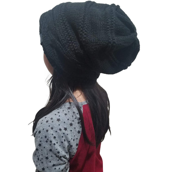 FEAR0 FLEECE INSULATED EXTREME COLD GEAR BLACK KNIT SLOUCH BAGGY BEANIE HAT FOR WOMENS