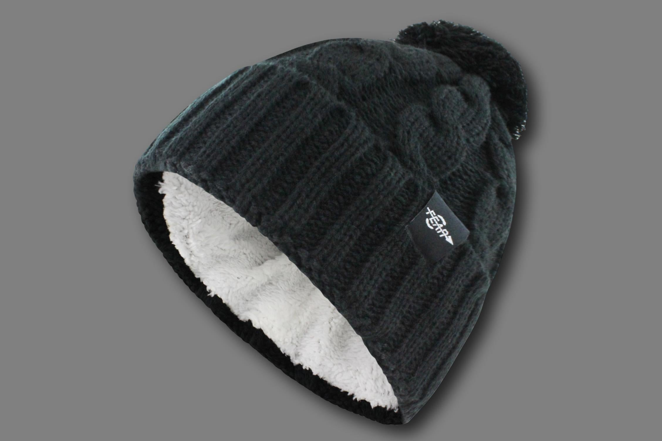 FEAR0 PLUSH INSULATED EXTREME COLD GEAR WOMENS BLACK CUFF KNIT POM BEANIE HAT - Fear0